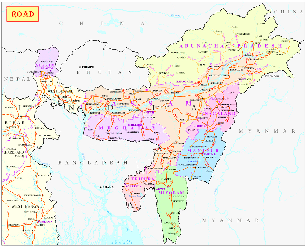East India Map Ministry of Development of North Eastern Region, North East India